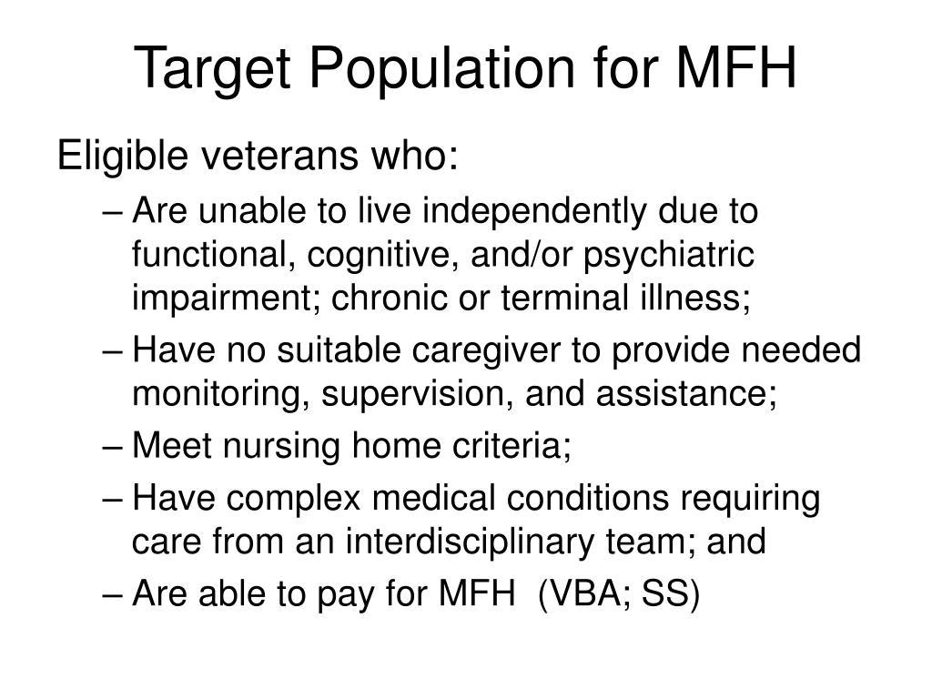 Target Population for MFH