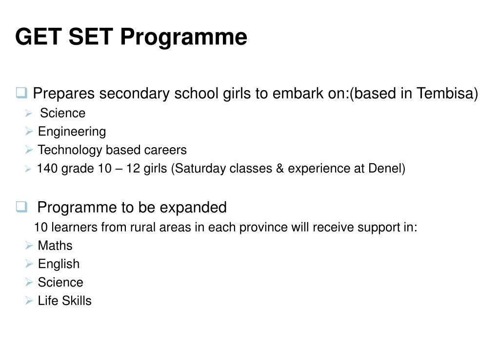 GET SET Programme