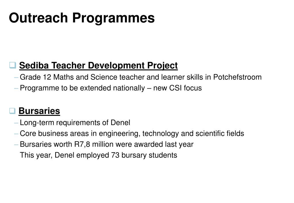 Outreach Programmes