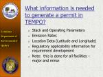 what information is needed to generate a permit in tempo