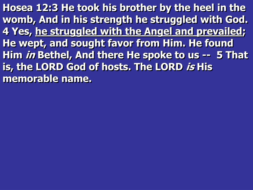 Hosea 12:3 He took his brother by the heel in the womb, And in his strength he struggled with God.  4 Yes,