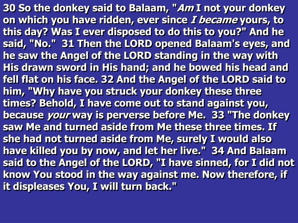 "30 So the donkey said to Balaam, """