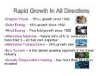 rapid growth in all directions