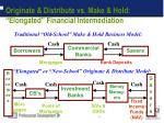 originate distribute vs make hold elongated financial intermediation