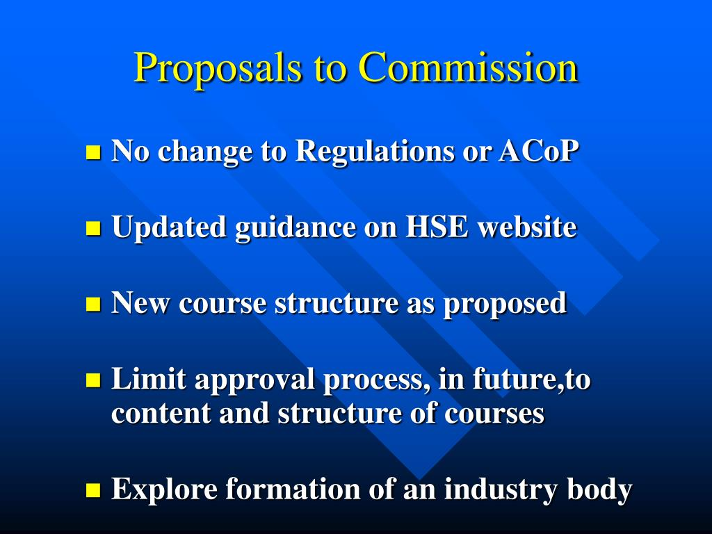 Proposals to Commission