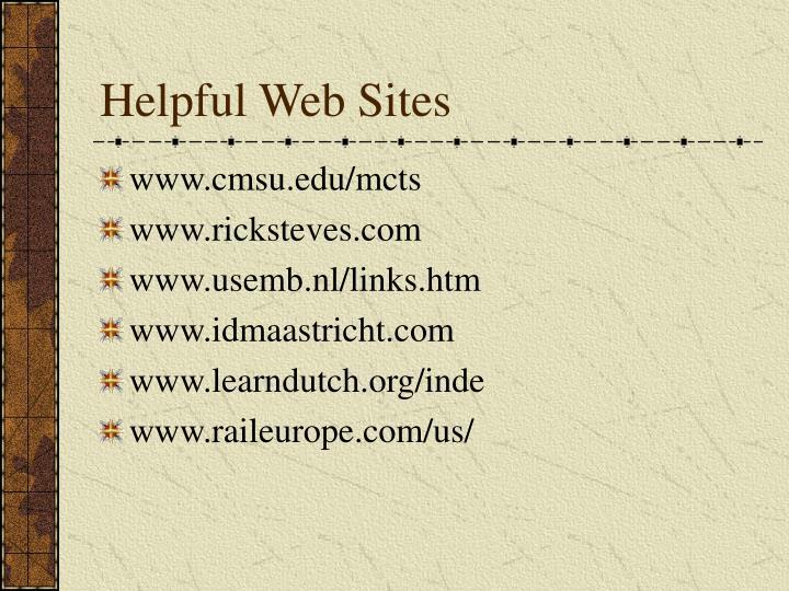 Helpful Web Sites