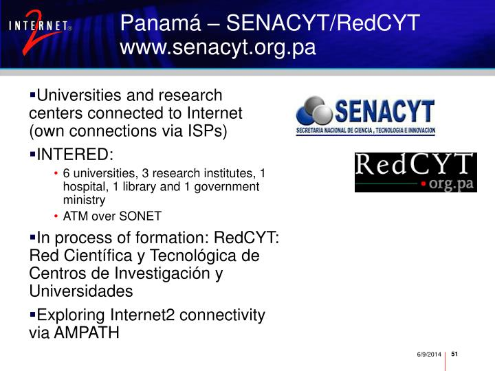 Universities and research centers connected to Internet (own connections via ISPs)