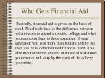 who gets financial aid