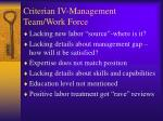 criterian iv management team work force