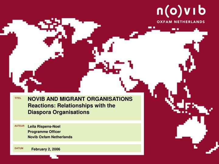 novib and migrant organisations reactions relationships with the diaspora organisations n.