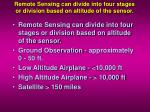 remote sensing can divide into four stages or division based on altitude of the sensor