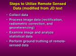 steps to utilize remote sensed data modified from jd text