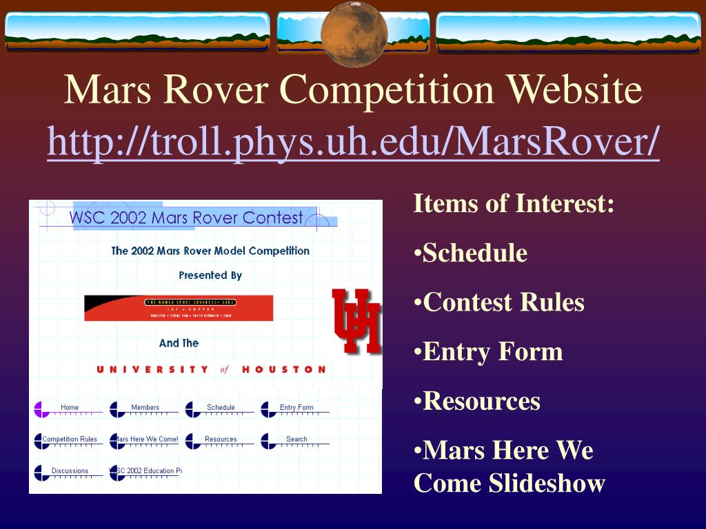 Mars Rover Competition Website