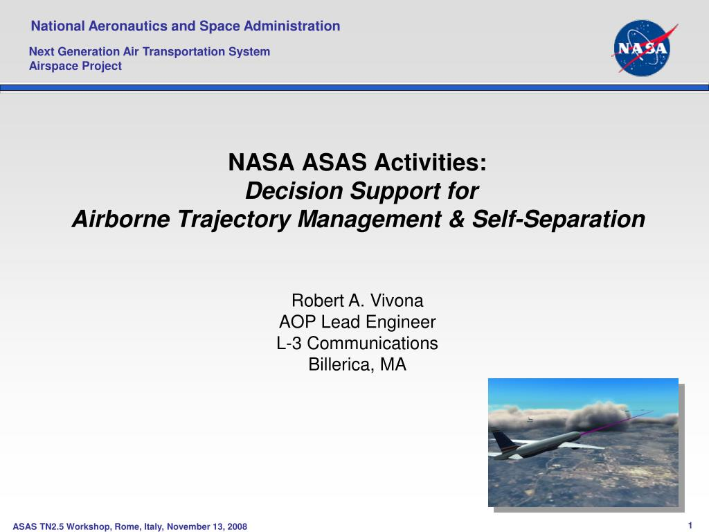 nasa asas activities decision support for airborne trajectory management self separation l.