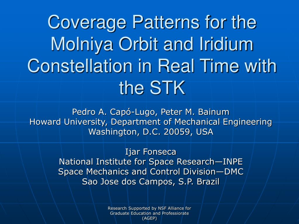 coverage patterns for the molniya orbit and iridium constellation in real time with the stk l.