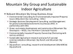 mountain sky group and sustainable indoor agriculture
