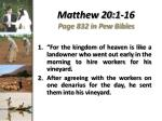 matthew 20 1 16 page 832 in pew bibles