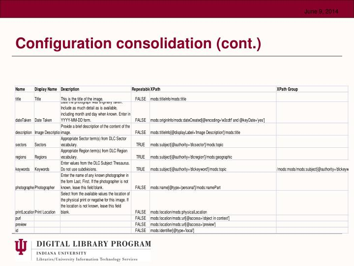 Configuration consolidation (cont.)