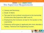site supervisor requirements