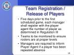 team registration release of players