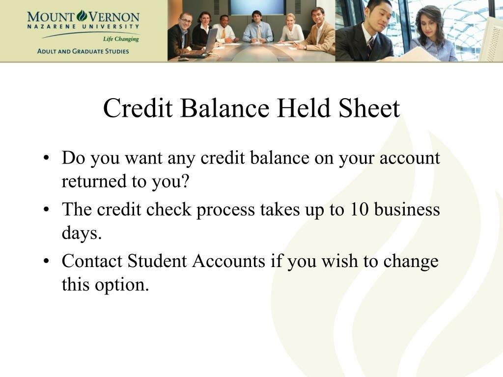 Credit Balance Held Sheet