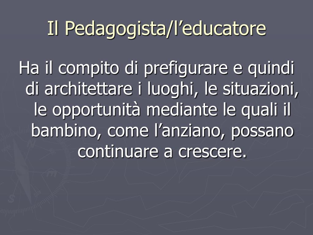 Il Pedagogista/l'educatore