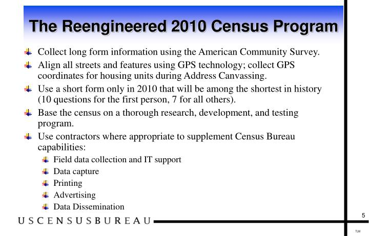 The Reengineered 2010 Census Program