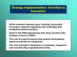 strategy implementation invention to innovation