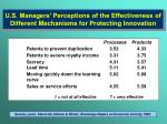 u s managers perceptions of the effectiveness of different mechanisms for protecting innovation