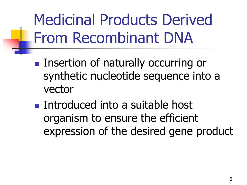 Medicinal Products Derived From Recombinant DNA