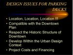 design issues for parking decks