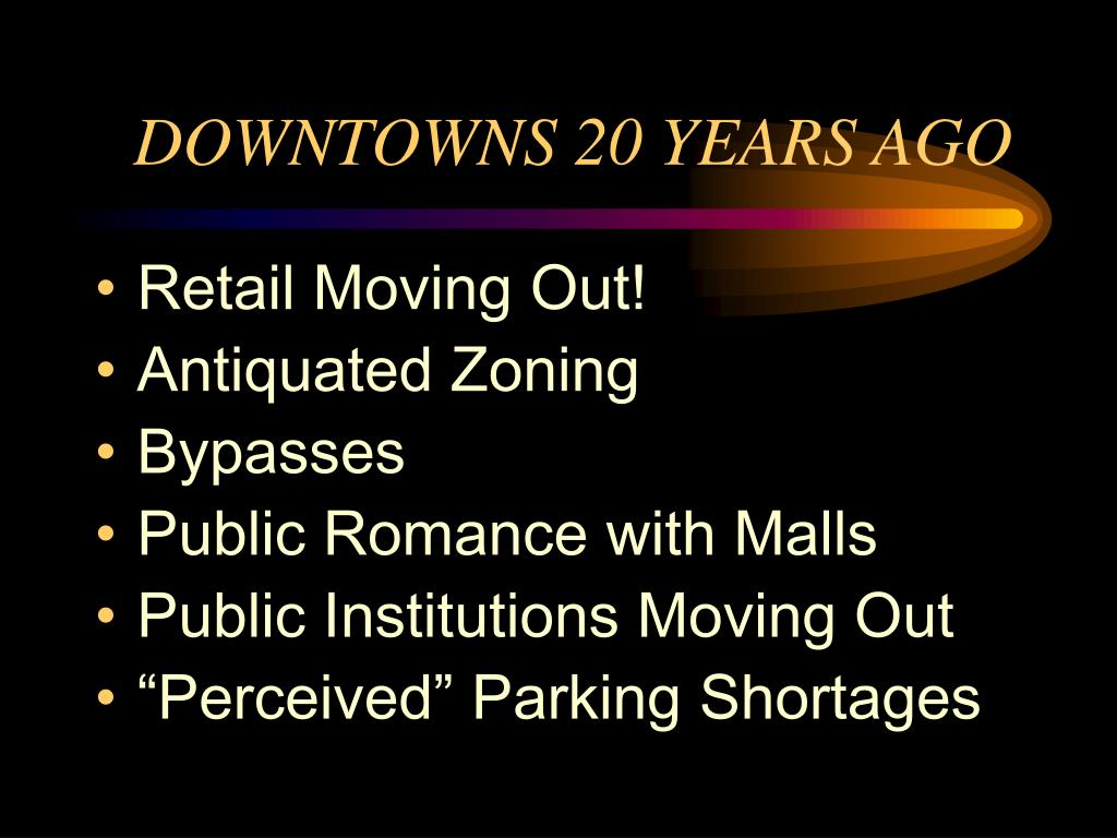 downtowns 20 years ago l.
