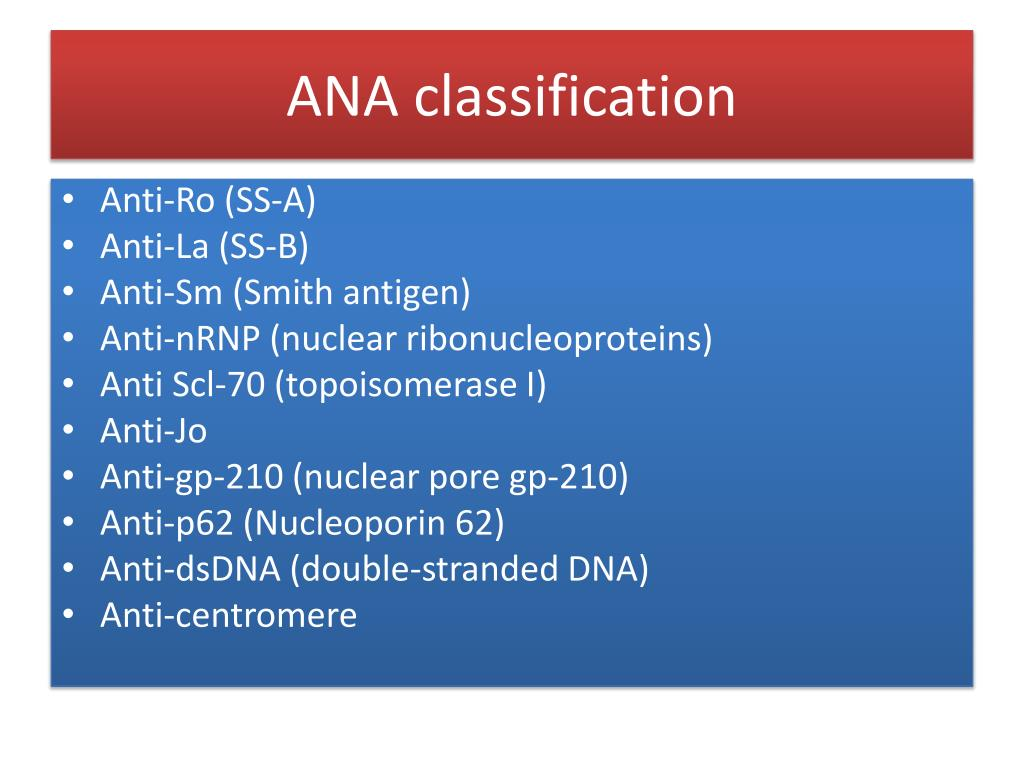 ANA classification