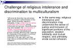 challenge of religious intolerance and discrimination to multiculturalism