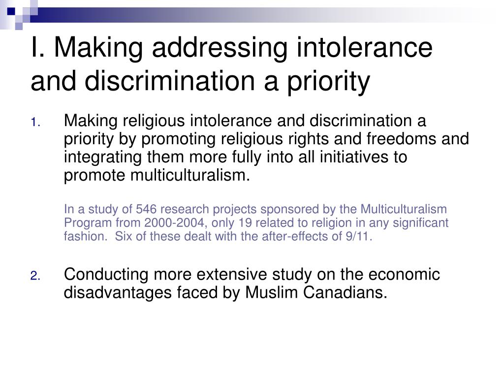 I. Making addressing intolerance and discrimination a priority