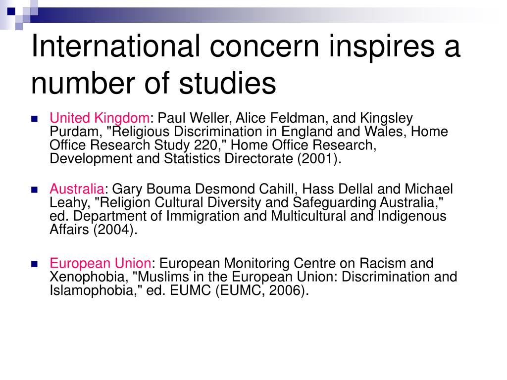 International concern inspires a number of studies