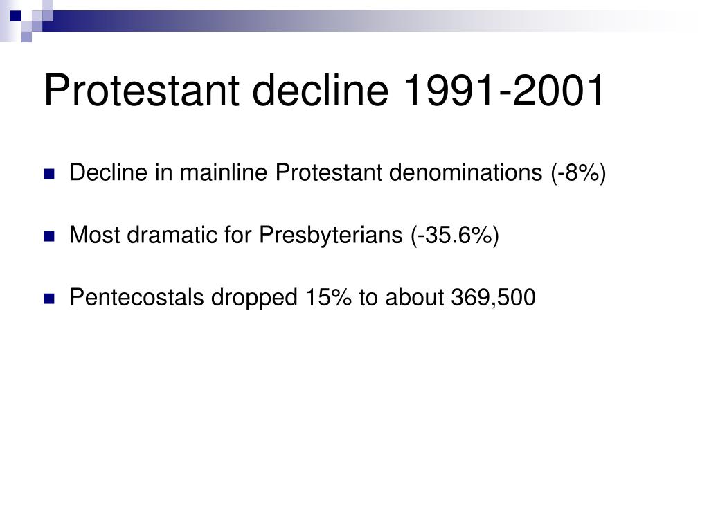 Protestant decline 1991-2001