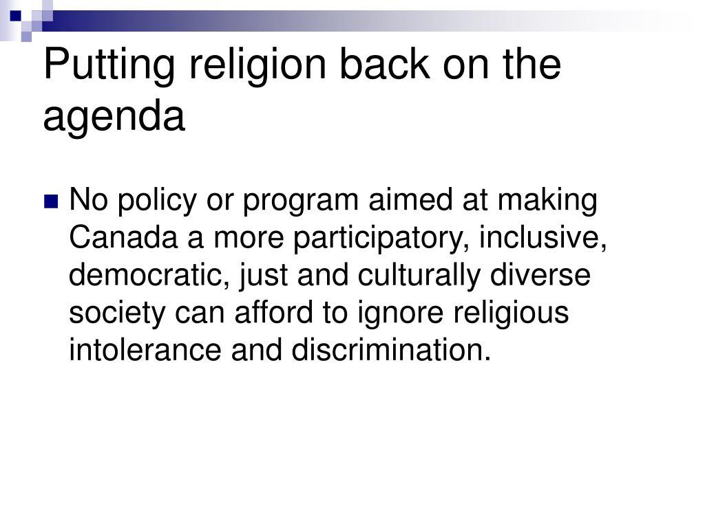 Putting religion back on the agenda