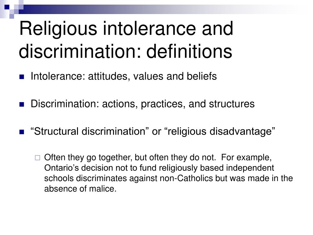 Religious intolerance and discrimination: definitions