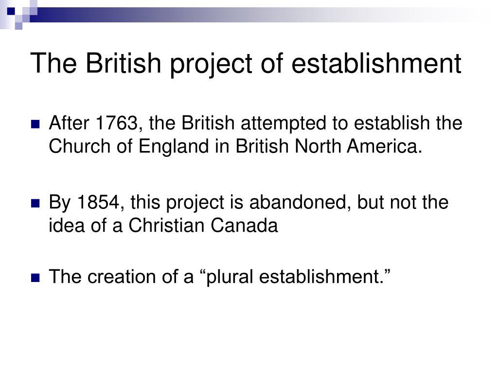 The British project of establishment