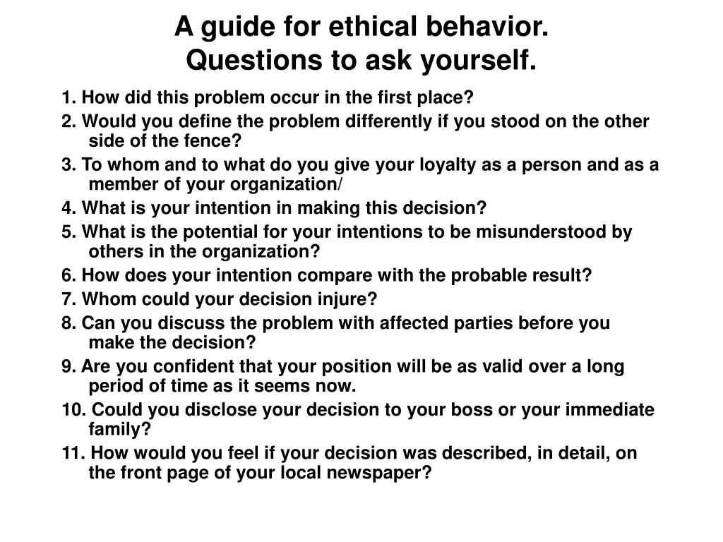 A guide for ethical behavior.