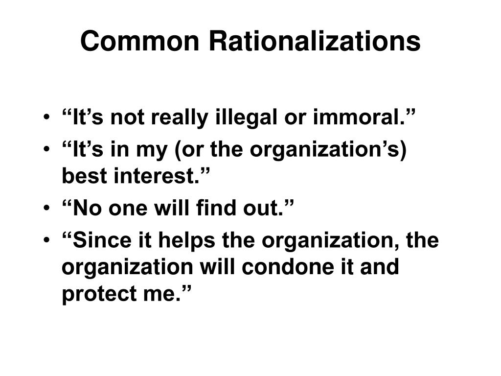 Common Rationalizations