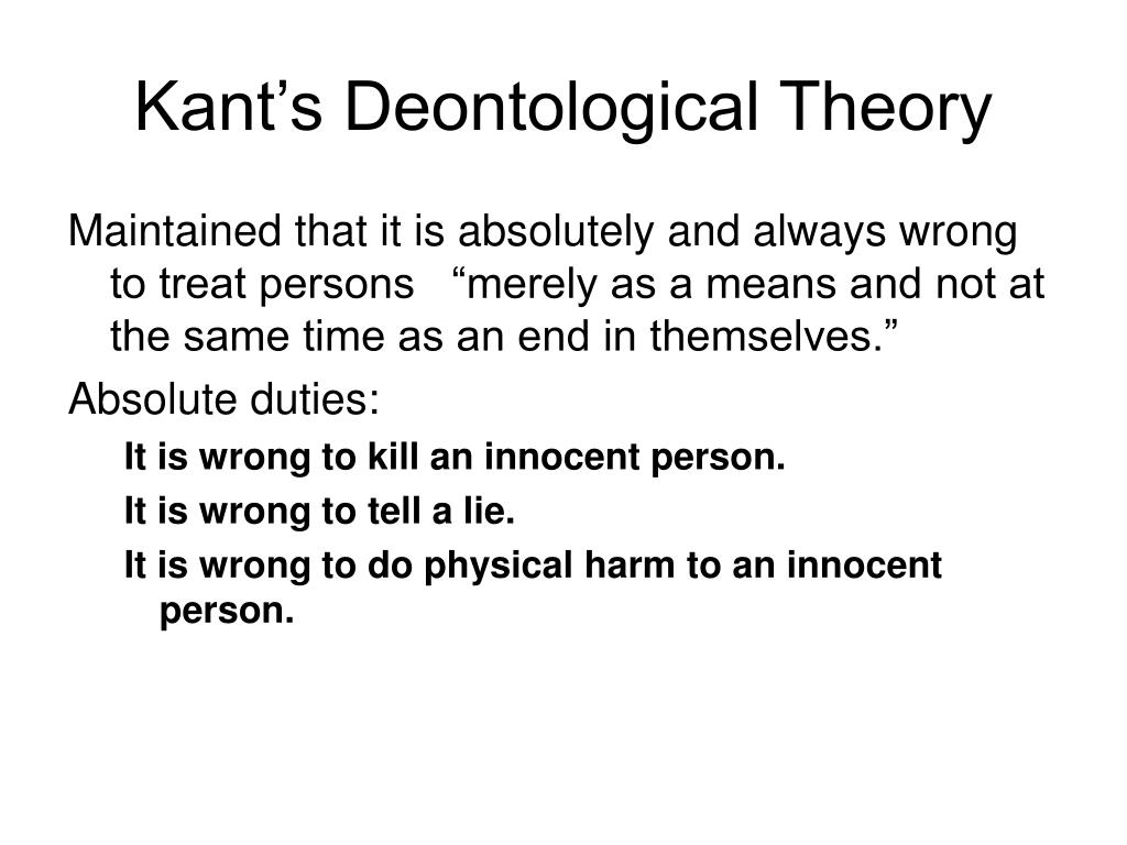 Kant's Deontological Theory
