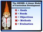 the gnome a linear model of curriculum development