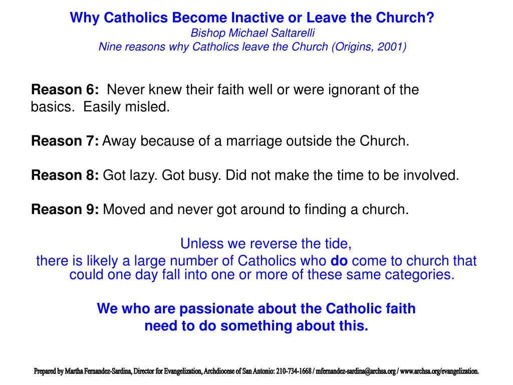 Why Catholics Become Inactive or Leave the Church?