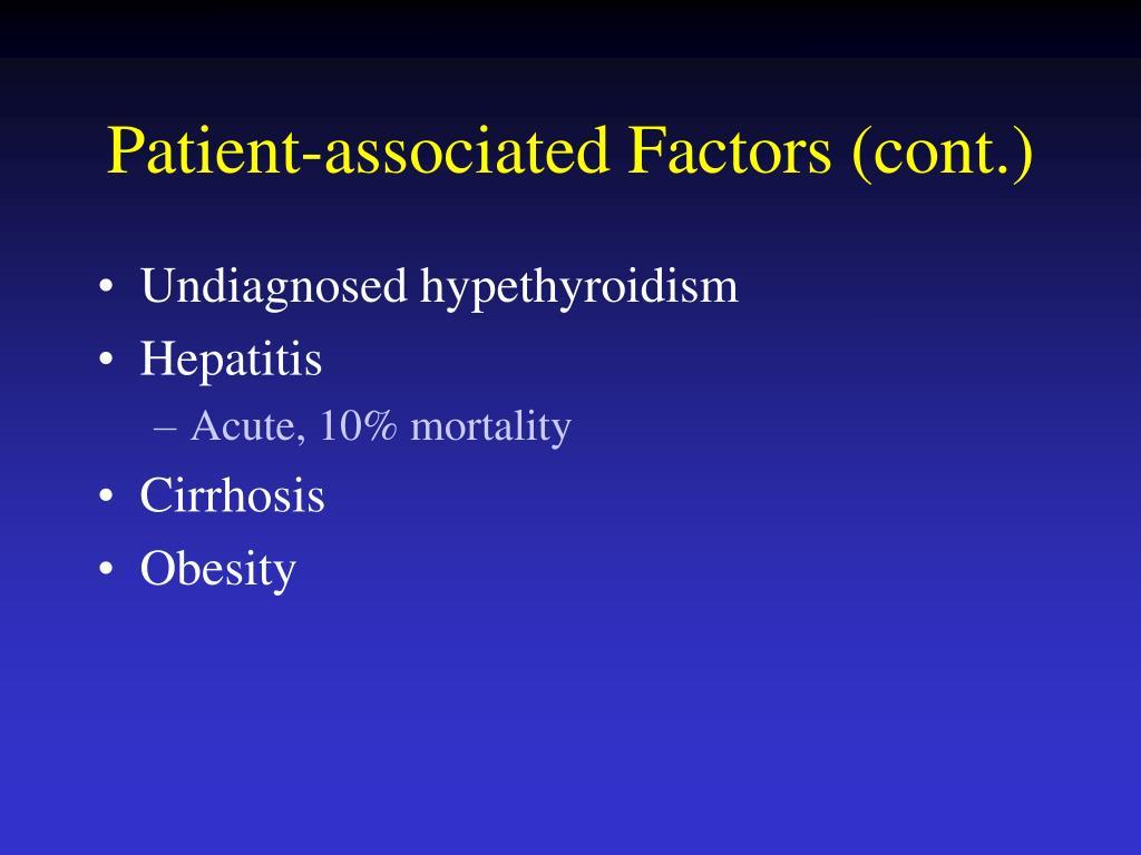 Patient-associated Factors (cont.)