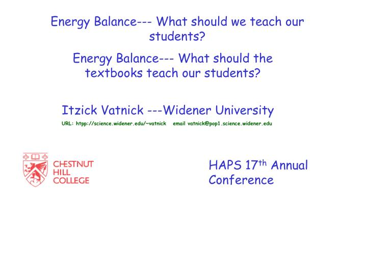 Energy Balance--- What should we teach our students?