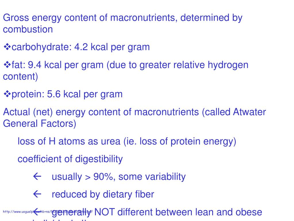 Gross energy content of macronutrients, determined by combustion