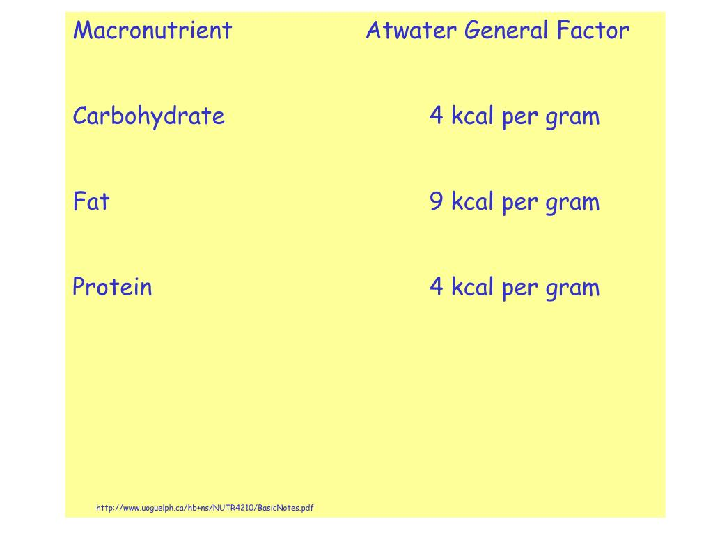 Macronutrient Atwater General Factor