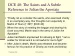 dce 40 the saints and a subtle reference to julian the apostate